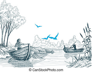 Fisherman in boat sketch, delta, river or sea background in...