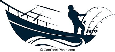 Fisherman in boat with fishing rods