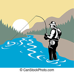 Fisherman in river with fly rod side view - Illustration of...