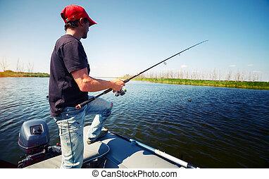 Fisherman in the boat
