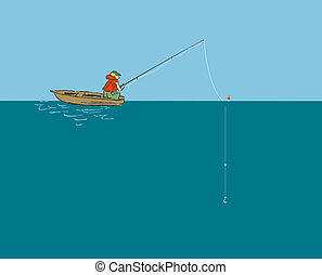Fisherman in the boat with a fishing rod - Fisherman sitting...