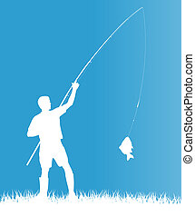Fisherman in the morning vector background concept