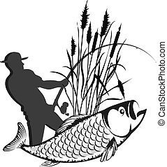 Fisherman in the reeds and fish