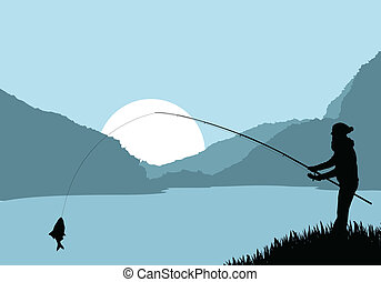 Fisherman landscape vector background for poster