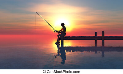 fisherman - Man fishing on pier at sunset