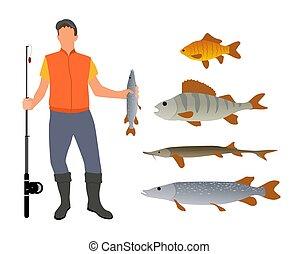 Fisherman Model and Fish Variety Poster