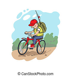 Fisherman on a cycling. Traveler. Vector illustration.