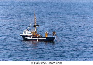 Fisherman on a Fishing Boat - Liguria Italy
