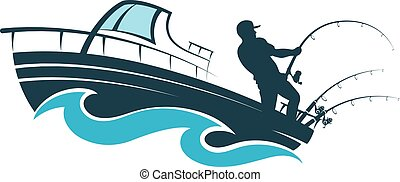 Fisherman on a motor boat