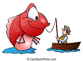 fisherman on boat catch monster fish - illustration of a...