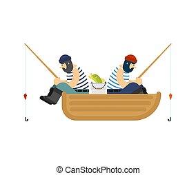 Fisherman on boat fishing. Fishing rod and Fish. Vector illustration