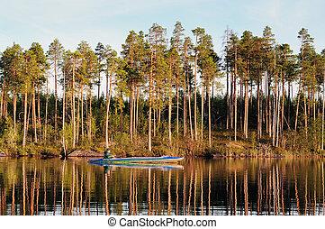 fisherman on evening lake