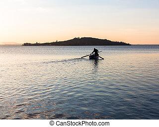 Fisherman on the Lake at Dusk