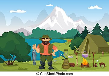 Fisherman on the lake holding fish vector illustration. Fishing and hiking sport or hobby on nature in summer. Camping with tent, fire.