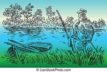 The fisherman went to the river. Vector illustration.