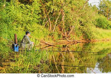 fisherman on the summer fishing