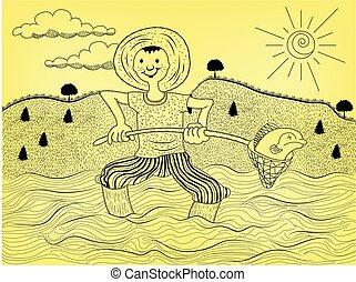 fIsherman on water