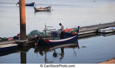 Fisherman preparing the net