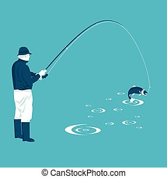 fisherman pulls the catch in vector format eps10