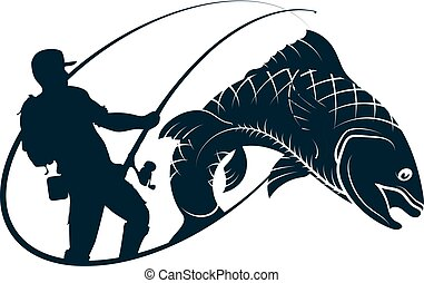 Fisherman with a spinning rod in the hands of silhouette and fish