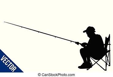 Fisherman silhouette on white