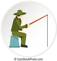 Fisherman sitting with fishing rod icon circle