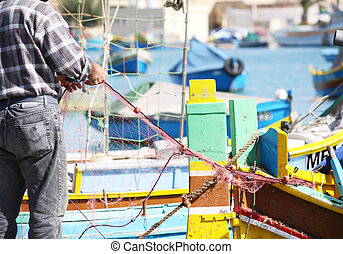fisherman sorting nets