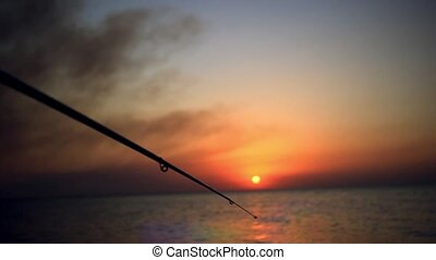 Fisherman sport hobby fishing rod or spinning reel on sea beach during sunset and birds flying in the sky