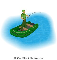Fisherman standing in a inflatable boat with fishing rod and stretched line. People outdoor activity.