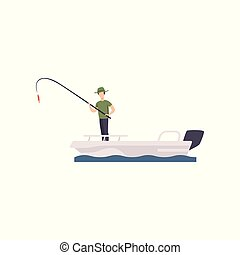 Fisherman standing on boat and fishing with a fishing rod vector Illustration on a white background