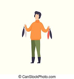 Fisherman standing with fish caught vector Illustration on a white background