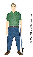 Fisherman - A man holding a fishing pole.