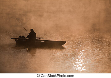 Fisherman - Fishing on the river in the morning