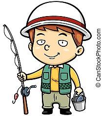 Vector illustration of Cartoon fisherman