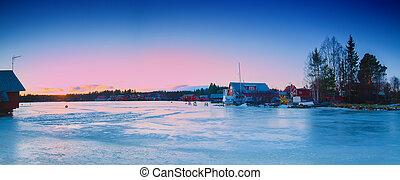 Fisherman village at winter
