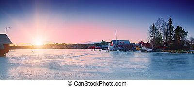 Fisherman village at winter - Fisherman village in Sweden at...