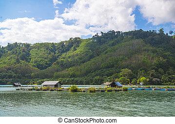 fisherman village on the lake in morning