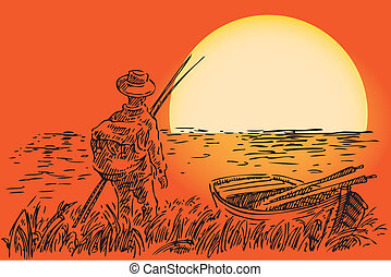 Fisherman with a boat