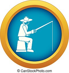 Fisherman with a fishing rod icon blue vector isolated