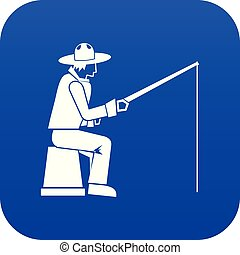 Fisherman with a fishing rod icon digital blue