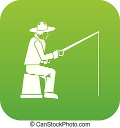 Fisherman with a fishing rod icon digital green