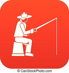 Fisherman with a fishing rod icon digital red
