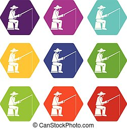 Fisherman with a fishing rod icon set color hexahedron