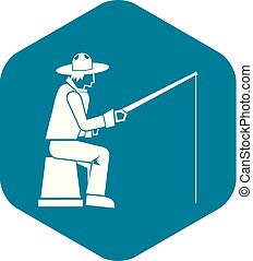 Fisherman with a fishing rod icon, simple style