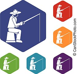 Fisherman with a fishing rod icons set