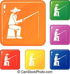 Fisherman with a fishing rod icons set vector color