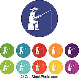 Fisherman with a fishing rod set icons