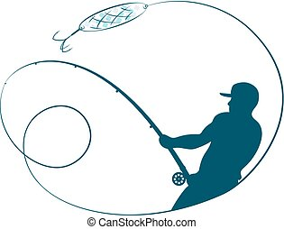 Fisherman with a fishing rod silhouette