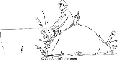 Fisherman with a float rod in stone. Vector illustration.