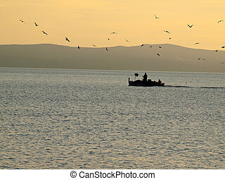 Fisherman with boat and seagulls in sunset
